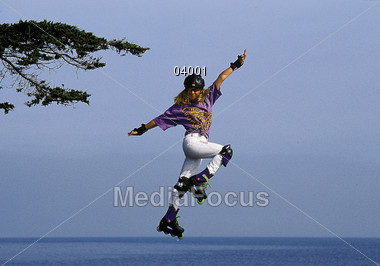 exercising fitness rollerblading Stock Photo