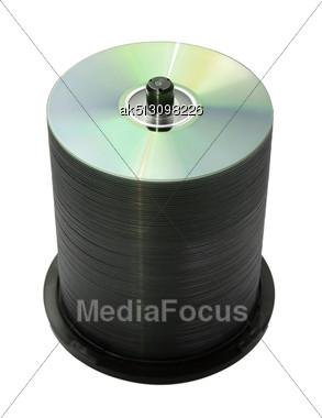 100 Discs In The Cake Box Stock Photo