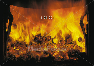 flames hot fireplace Stock Photo