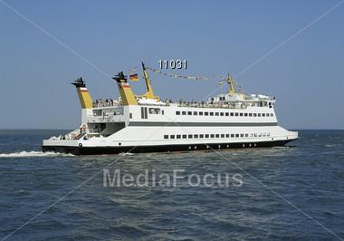 ferry sea ocean Stock Photo