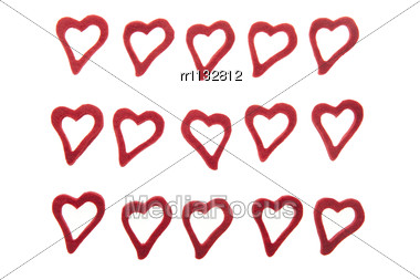15 Ornamental Hearts On White Background Made From Felt. Stock Photo