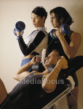 studio exercising fitness Stock Photo