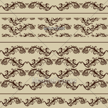 2 Vintage Borders And 2 Seamless Patterns, Fully Editable Eps 8 File With Clipping Masks, Brushes And Patterns In Swatch Menu Included Stock Photo