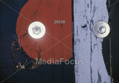 bolt wooden painted Stock Photo