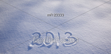2013 New Year Numbers On The Snow Stock Photo