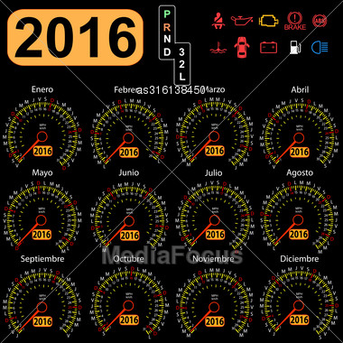 2016 Year Calendar Speedometer Car In Spanish. Vector Illustration Stock Photo