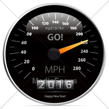 2016 Year Calendar Speedometer Car. Vector Illustration Stock Photo