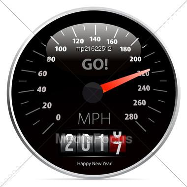2017 Year Calendar Speedometer Car. Vector Illustration Stock Photo