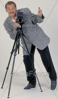 photographer tripod professions Stock Photo