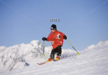 skiing winter snow Stock Photo