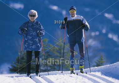 skiing old crosscountry Stock Photo