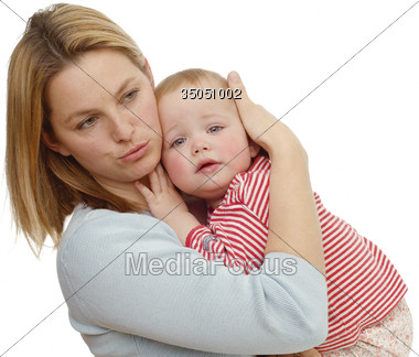 babies mothers blondes Stock Photo