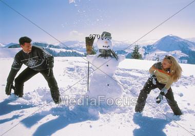 winter vacation fight Stock Photo