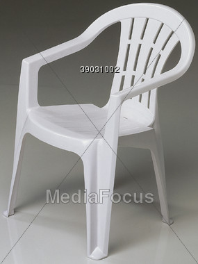 Plastic Chairs Outdoors Stock Photo
