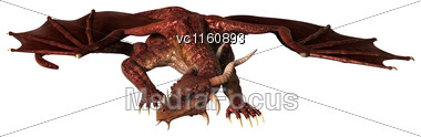 3D 3D Illustration Of A Red Fantasy Dragon Isolated On White Background Stock Photo