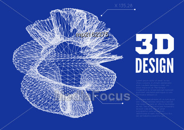 3D Abstract Design. Vector Illustration Wth Wireframe Model Stock Photo