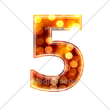 3d Digit With Glowing Lights Texture - 5 Stock Photo
