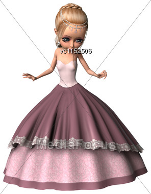 3D Digital Render Of Acute Little Princess In A Pink Dress Isolated On White Background Stock Photo