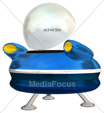 3D Digital Render Of An Alien Spaceship Isolated On White Background Stock Photo
