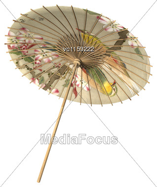 3D Digital Render Of An Asian Parasol In Retro Style Isolated On White Background Stock Photo