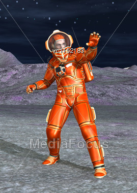 3D Digital Render Of An Astronaut On A Alien Planet And Blue Night Sky Background Stock Photo