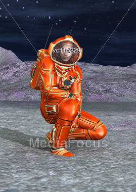 3D Digital Render Of An Astronaut On An Alien Planet And Blue Night Sky Background Stock Photo