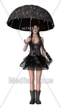 3D Digital Render Of An Atractive Gothic Girl Holding An Umbrella Isolated On White Background Stock Photo
