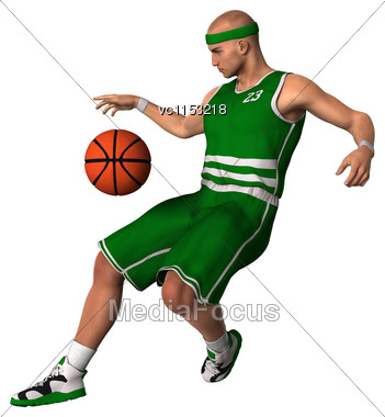 3D Digital Render Of A Basketball Player With A Ball Isolated On White Background Stock Photo