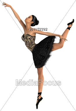 3D Digital Render Of A Beautiful Asian Ballerina Isolated On White Background Stock Photo