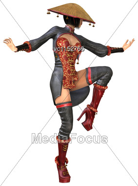 3D Digital Render Of A Beautiful Asian Battle Woman Isolated On White Background Stock Photo