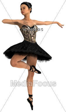 3D Digital Render Of A Beautiful Asian Female Ballet Dancer Isolated On White Background Stock Photo