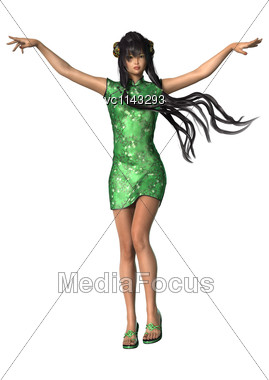 3D Digital Render Of A Beautiful Asian Girl Wearing Traditional Clothes Isolated On White Background Stock Photo