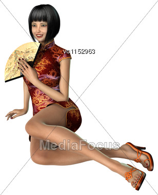 3D Digital Render Of A Beautiful Asian Young Woman Isolated On White Background Stock Photo