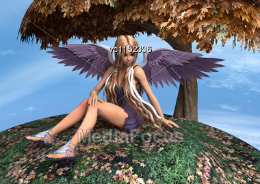 3D Digital Render Of A Beautiful Autumn Angel Sitting Under The Tree Stock Photo