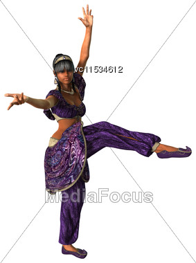3D Digital Render Of A Beautiful Belly Dancer Isolated On White Background Stock Photo