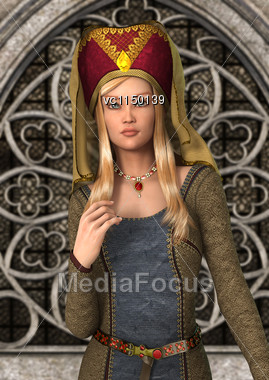 3D Digital Render Of A Beautiful Blond Medieval Ladyon A Fairytale Castle Background Stock Photo