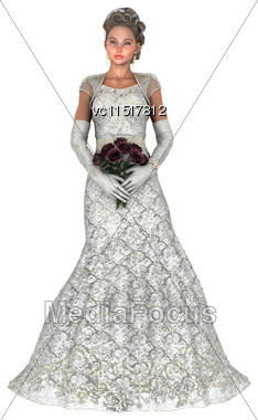 3D Digital Render Of A Beautiful Bride Holding A Rose Bridal Bouquet Isolated On White Background Stock Photo