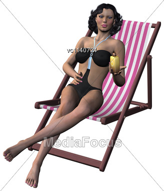 3D Digital Render Of A Beautiful Brunette Taking A Sunbath And Holding A Sun Lotion Isolated On White Background Stock Photo