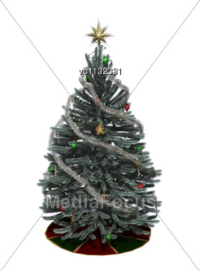 3D Digital Render Of A Beautiful Christmas Tree Isolated On White Background Stock Photo