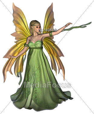 3D Digital Render Of A Beautiful Fairy Queen Isolated On White Background Stock Photo