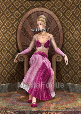 3D Digital Render Of A Beautiful Fairy Tale Princess Sitting On A Throne, Old Style Room Background Stock Photo