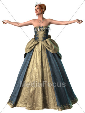3D Digital Render Of A Beautiful Fairytale Princess Isolated On White Background Stock Photo