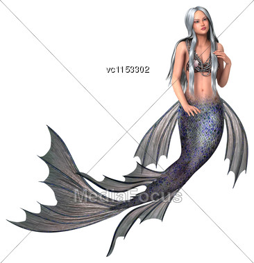 3D Digital Render Of A Beautiful Fantasy Mermaid Isolated On White Background Stock Photo