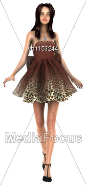 3D Digital Render Of A Beautiful Fashion Model Isolated On White Background Stock Photo