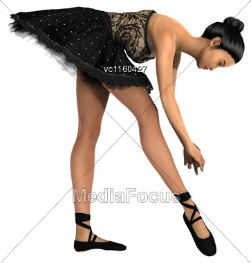 3D Digital Render Of A Beautiful Female Ballet Dancer Isolated On White Background Stock Photo