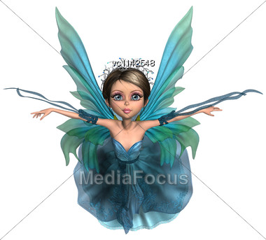 3D Digital Render Of A Beautiful Flying Fairy Isolated On White Background Stock Photo