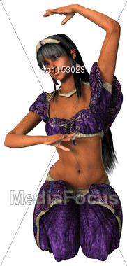 3D Digital Render Of A Beautiful Harem Dancer Isolated On White Background Stock Photo