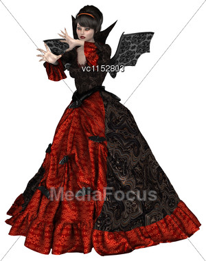 3D Digital Render Of A Beautiful Lady Vamp Isolated On White Background Stock Photo