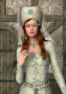 3D Digital Render Of A Beautiful Medieval Lady On An Old Building Background Stock Photo