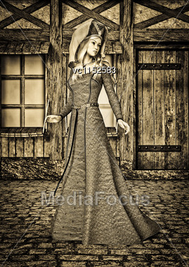 3D Digital Render Of A Beautiful Medieval Lady On An Old City Background Stock Photo